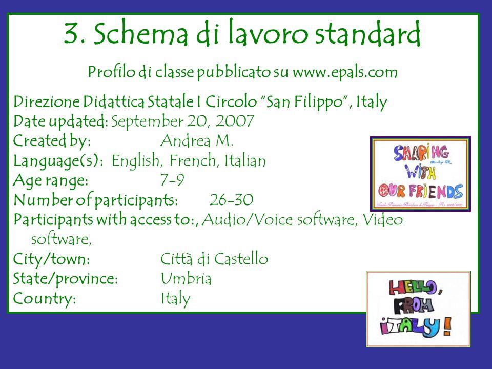 """3. Schema di lavoro standard Profilo di classe pubblicato su www.epals.com Direzione Didattica Statale I Circolo """"San Filippo"""", Italy Date updated:Sep"""