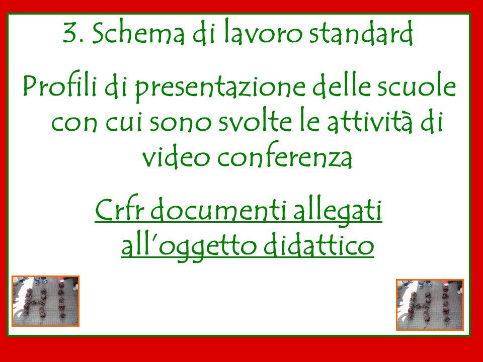 3. Schema di lavoro standard Profili di presentazione delle scuole con cui sono svolte le attività di video conferenza Crfr documenti allegati all'ogg