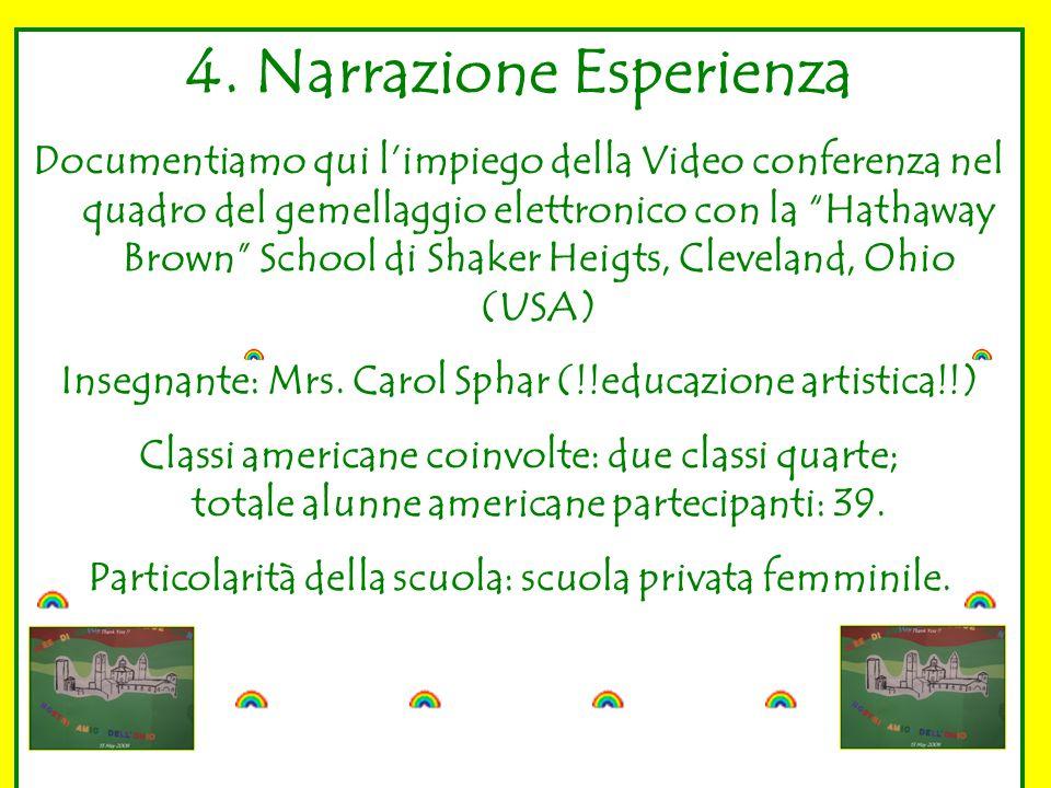 """4. Narrazione Esperienza Documentiamo qui l'impiego della Video conferenza nel quadro del gemellaggio elettronico con la """"Hathaway Brown"""" School di Sh"""