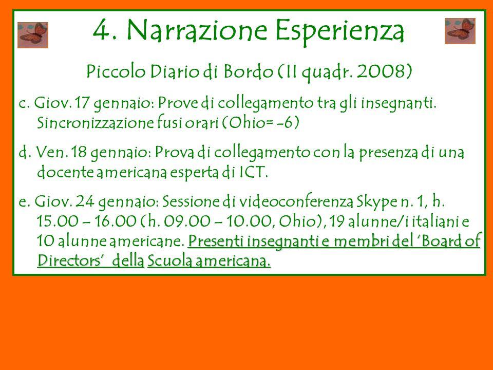 4.Narrazione Esperienza Piccolo Diario di Bordo (II quadr.