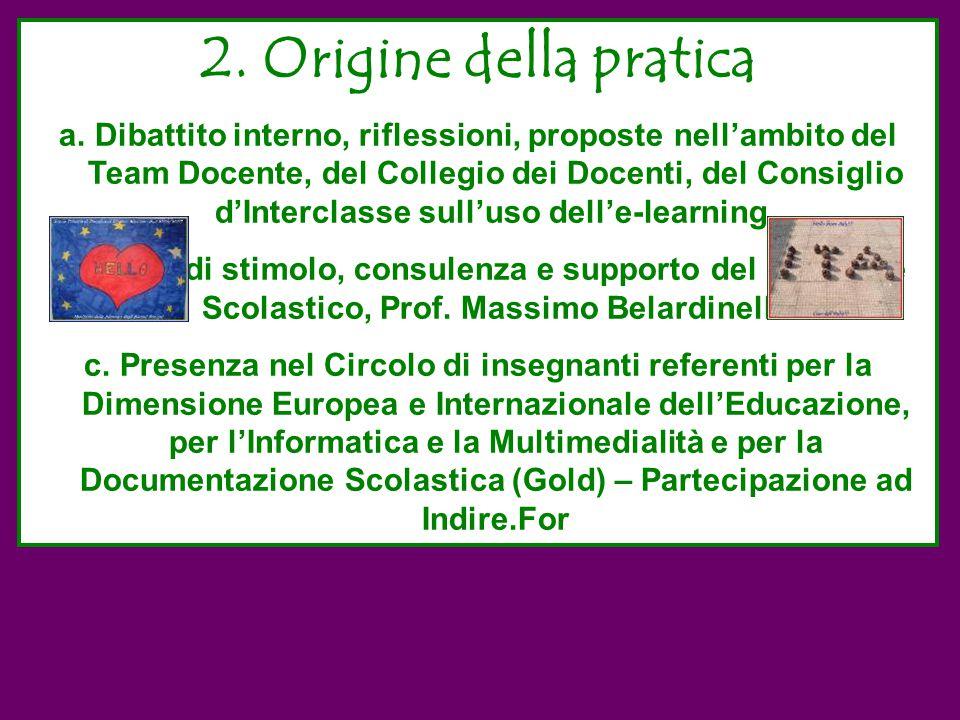 2. Origine della pratica a.Dibattito interno, riflessioni, proposte nell'ambito del Team Docente, del Collegio dei Docenti, del Consiglio d'Interclass