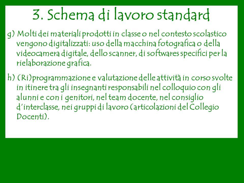 3. Schema di lavoro standard g) Molti dei materiali prodotti in classe o nel contesto scolastico vengono digitalizzati: uso della macchina fotografica