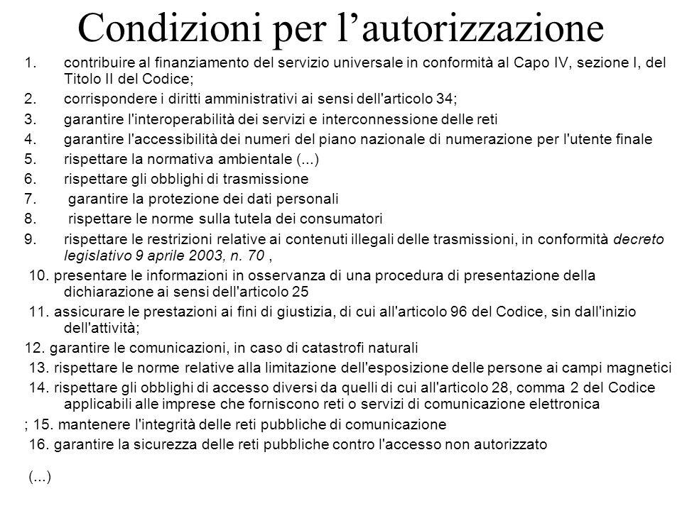 Condizioni per l'autorizzazione 1.