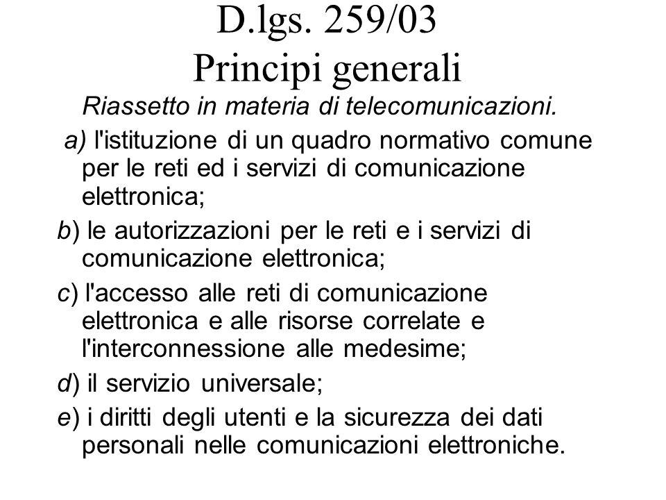 D.lgs. 259/03 Principi generali Riassetto in materia di telecomunicazioni.