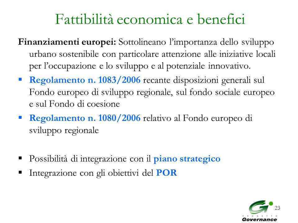 23 Fattibilità economica e benefici Finanziamenti europei: Sottolineano l'importanza dello sviluppo urbano sostenibile con particolare attenzione alle iniziative locali per l'occupazione e lo sviluppo e al potenziale innovativo.