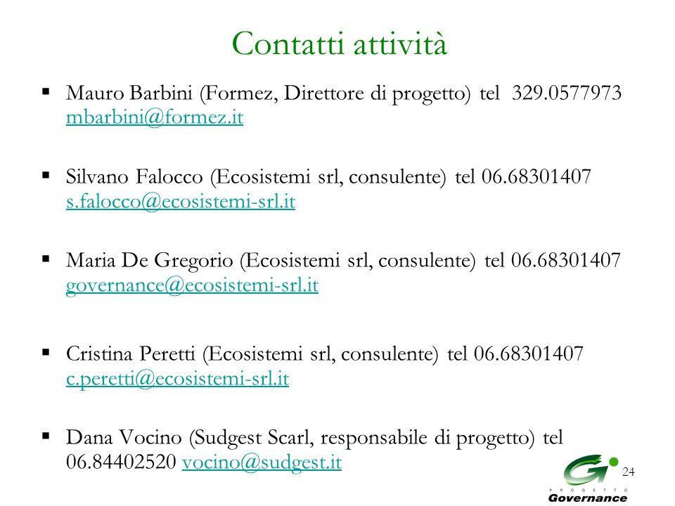 24 Contatti attività  Mauro Barbini (Formez, Direttore di progetto) tel 329.0577973 mbarbini@formez.it mbarbini@formez.it  Silvano Falocco (Ecosistemi srl, consulente) tel 06.68301407 s.falocco@ecosistemi-srl.it s.falocco@ecosistemi-srl.it  Maria De Gregorio (Ecosistemi srl, consulente) tel 06.68301407 governance@ecosistemi-srl.it governance@ecosistemi-srl.it  Cristina Peretti (Ecosistemi srl, consulente) tel 06.68301407 c.peretti@ecosistemi-srl.it c.peretti@ecosistemi-srl.it  Dana Vocino (Sudgest Scarl, responsabile di progetto) tel 06.84402520 vocino@sudgest.itvocino@sudgest.it