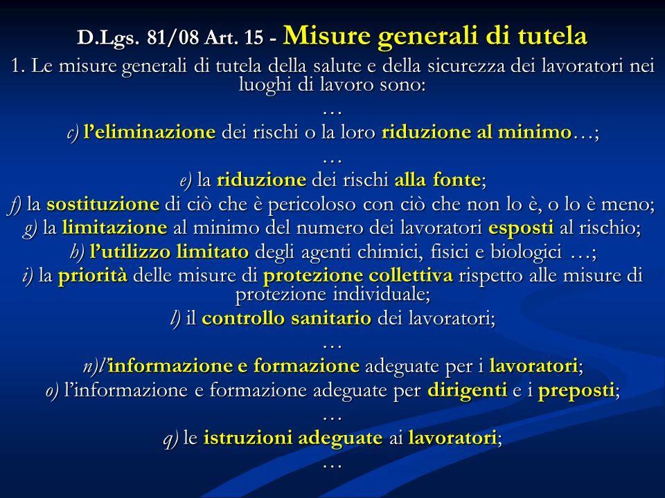 D.Lgs. 81/08 Art. 15 - Misure generali di tutela 1. Le misure generali di tutela della salute e della sicurezza dei lavoratori nei luoghi di lavoro so