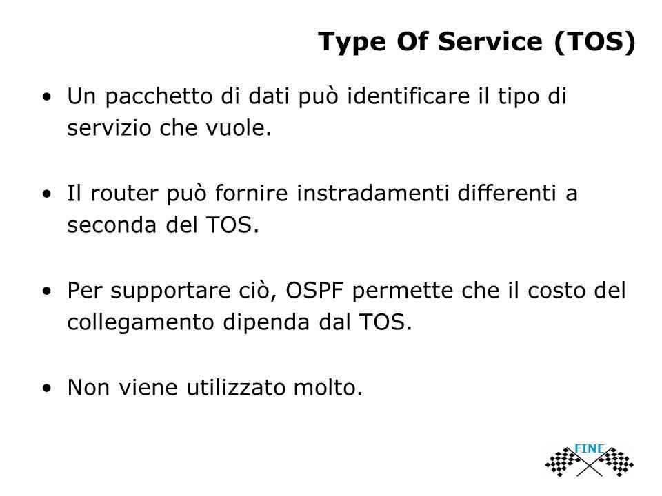 Type Of Service (TOS) Un pacchetto di dati può identificare il tipo di servizio che vuole. Il router può fornire instradamenti differenti a seconda de