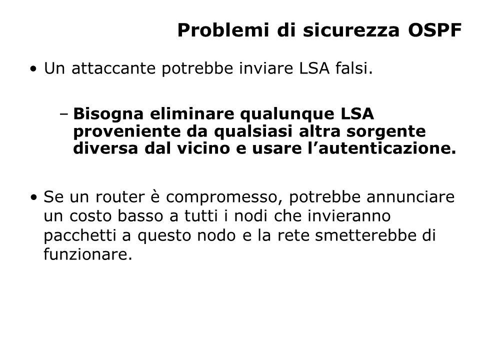 Problemi di sicurezza OSPF Un attaccante potrebbe inviare LSA falsi. –Bisogna eliminare qualunque LSA proveniente da qualsiasi altra sorgente diversa