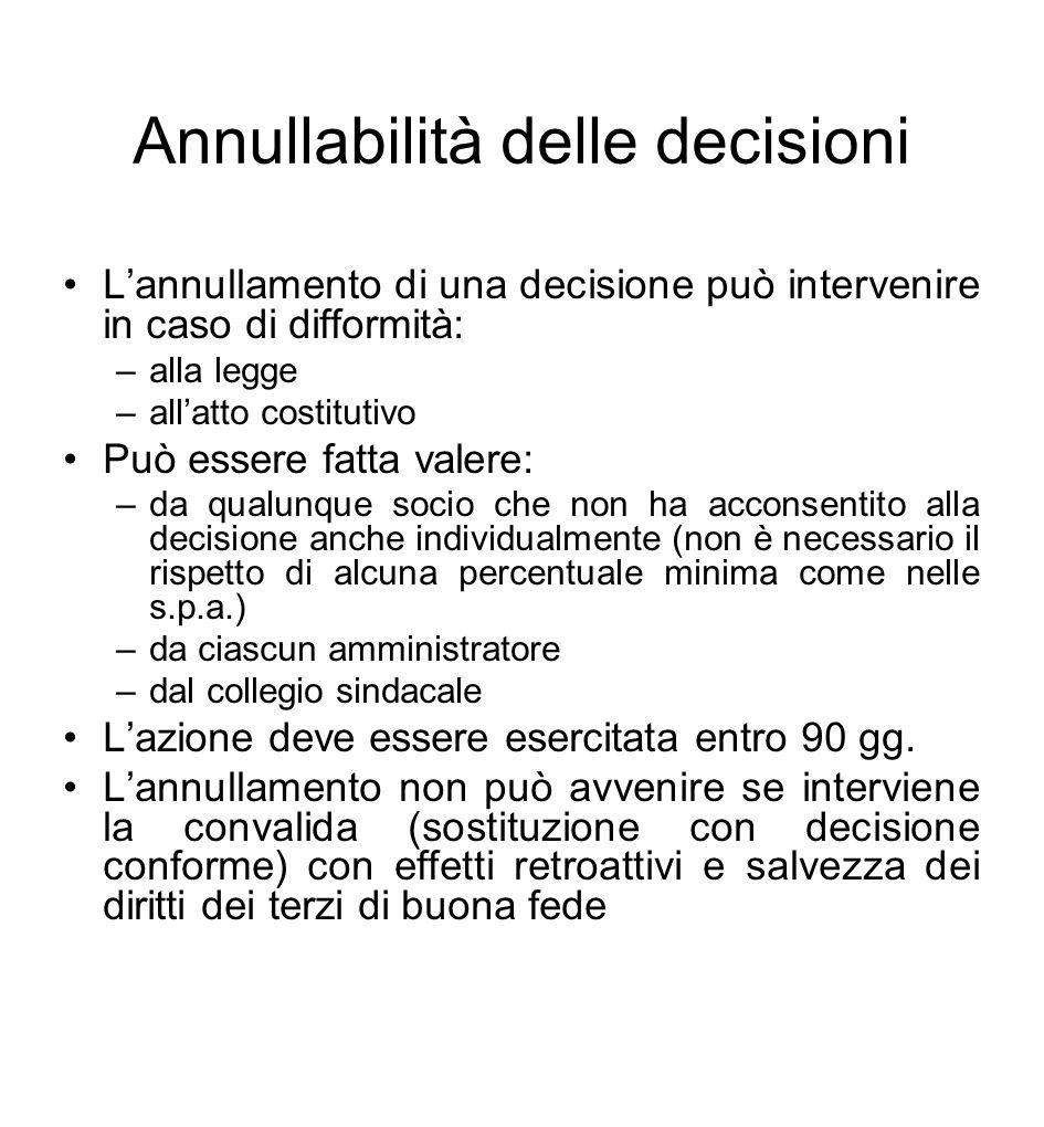 Annullabilità delle decisioni L'annullamento di una decisione può intervenire in caso di difformità: –alla legge –all'atto costitutivo Può essere fatt