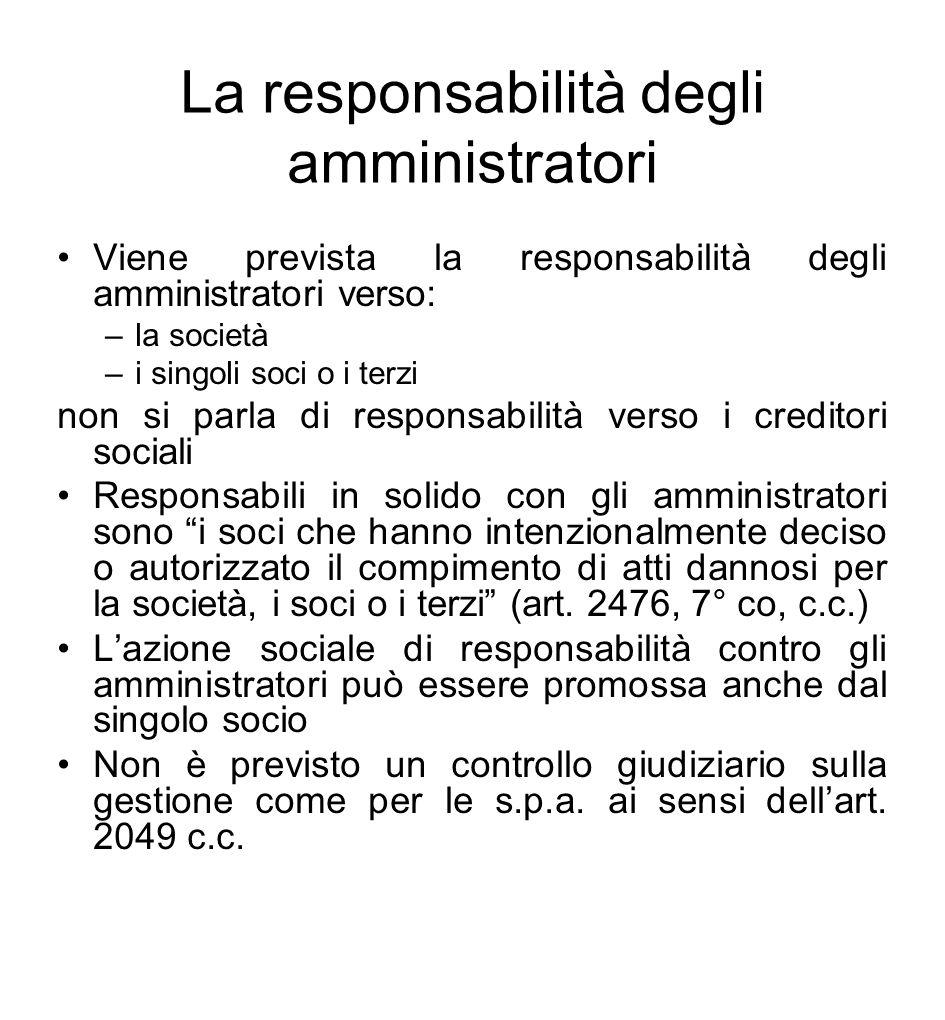 La responsabilità degli amministratori Viene prevista la responsabilità degli amministratori verso: –la società –i singoli soci o i terzi non si parla