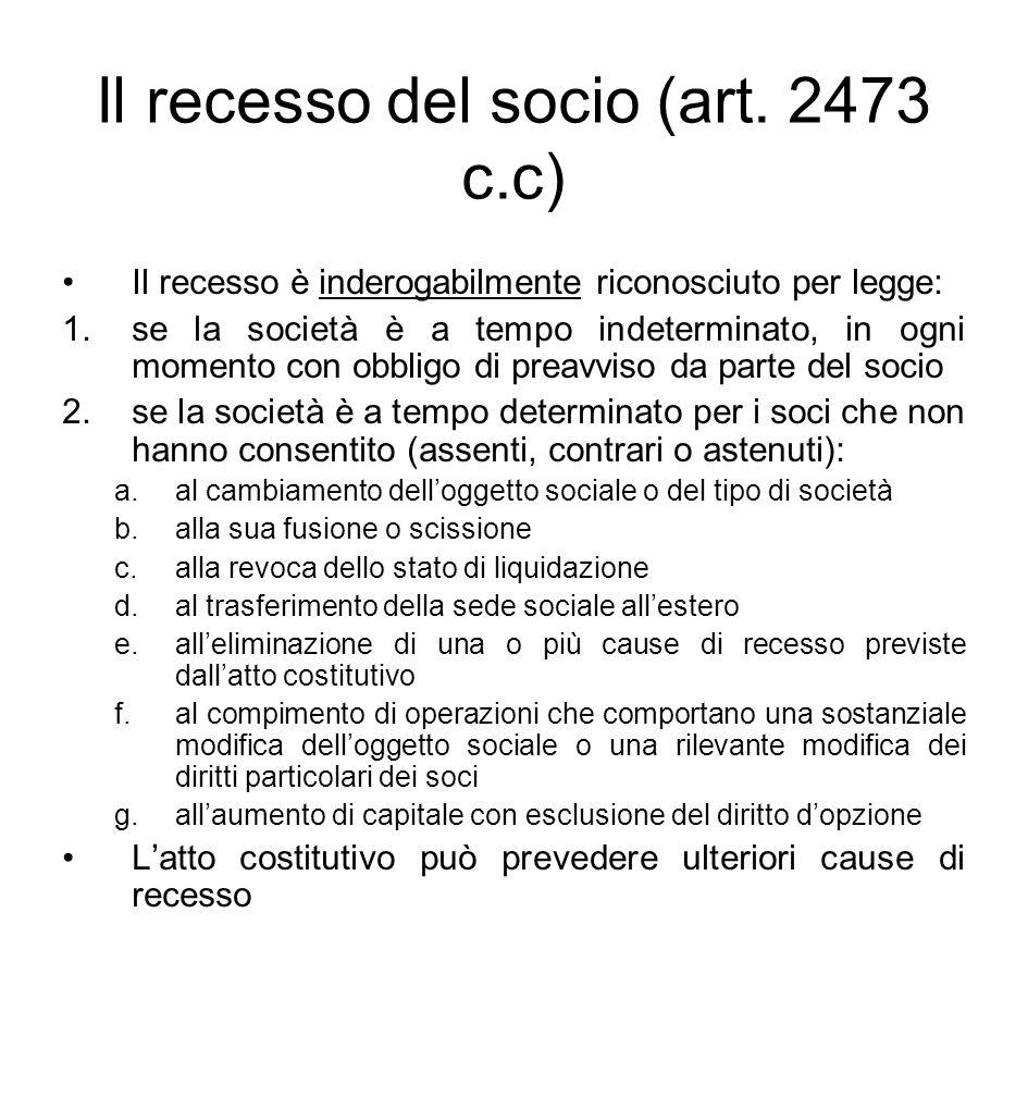 Il recesso del socio (art. 2473 c.c) Il recesso è inderogabilmente riconosciuto per legge: 1.se la società è a tempo indeterminato, in ogni momento co