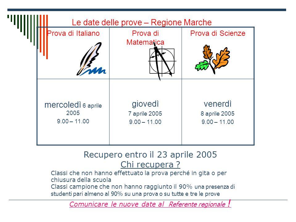 Le date delle prove – Regione Marche Prova di ItalianoProva di Matematica Prova di Scienze mercoledì 6 aprile 2005 9.00 – 11.00 giovedì 7 aprile 2005 9.00 – 11.00 venerdì 8 aprile 2005 9.00 – 11.00 Recupero entro il 23 aprile 2005 Chi recupera .