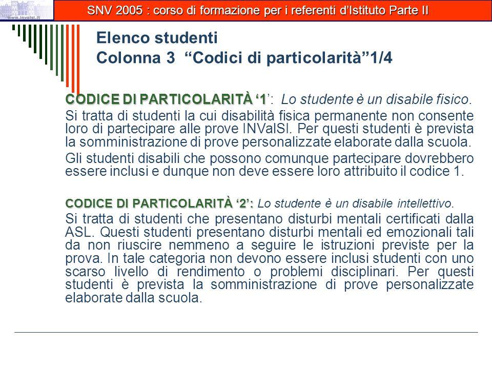 Elenco studenti Colonna 3 Codici di particolarità 1/4 CODICE DI PARTICOLARITÀ '1 CODICE DI PARTICOLARITÀ '1': Lo studente è un disabile fisico.