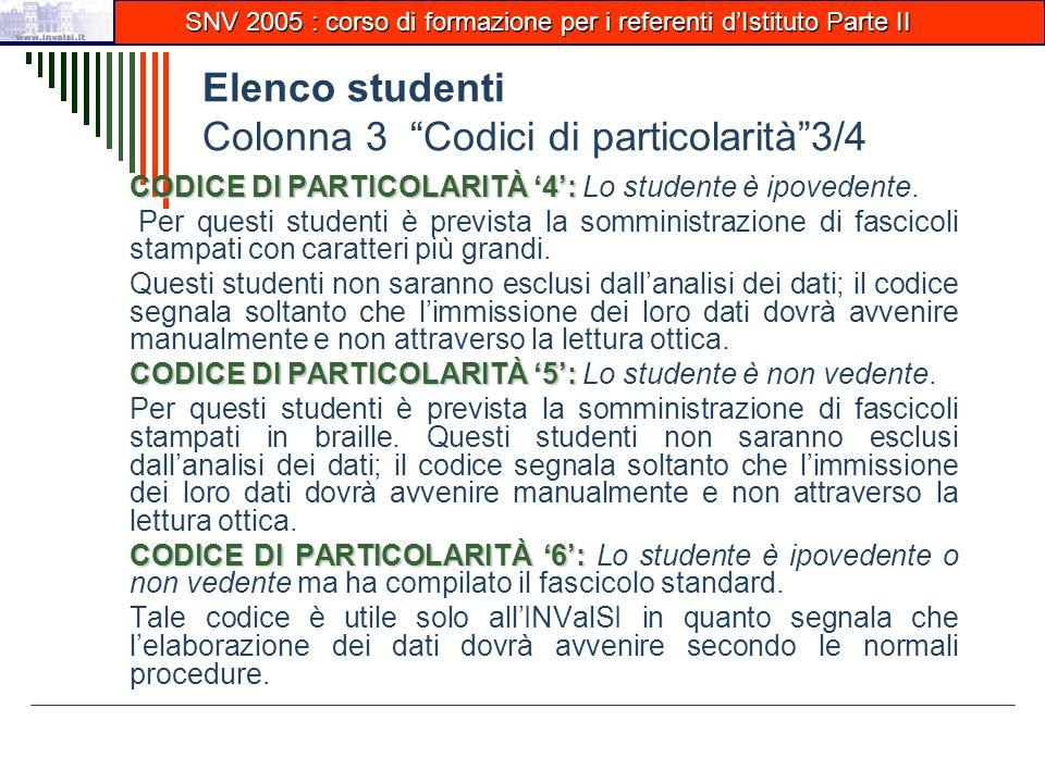 Elenco studenti Colonna 3 Codici di particolarità 3/4 CODICE DI PARTICOLARITÀ '4': CODICE DI PARTICOLARITÀ '4': Lo studente è ipovedente.