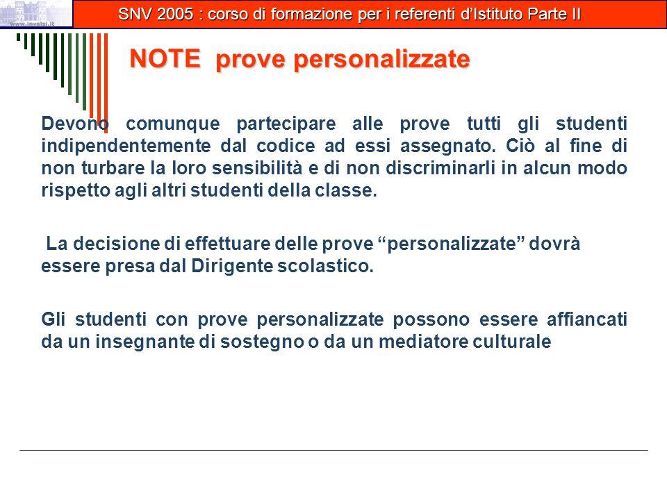 NOTE prove personalizzate Devono comunque partecipare alle prove tutti gli studenti indipendentemente dal codice ad essi assegnato.
