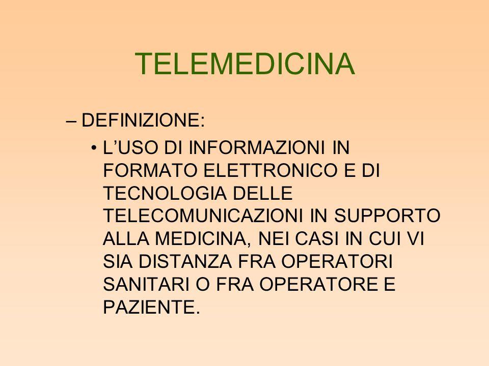 TELEMEDICINA –DEFINIZIONE: L'USO DI INFORMAZIONI IN FORMATO ELETTRONICO E DI TECNOLOGIA DELLE TELECOMUNICAZIONI IN SUPPORTO ALLA MEDICINA, NEI CASI IN