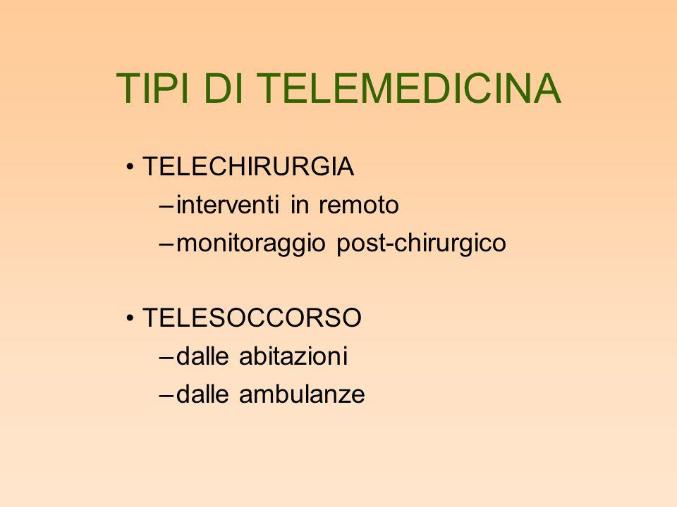 TIPI DI TELEMEDICINA TELECHIRURGIA –interventi in remoto –monitoraggio post-chirurgico TELESOCCORSO –dalle abitazioni –dalle ambulanze