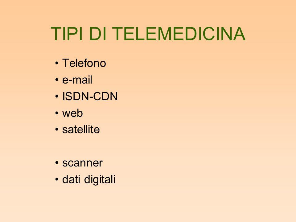 TIPI DI TELEMEDICINA Telefono e-mail ISDN-CDN web satellite scanner dati digitali