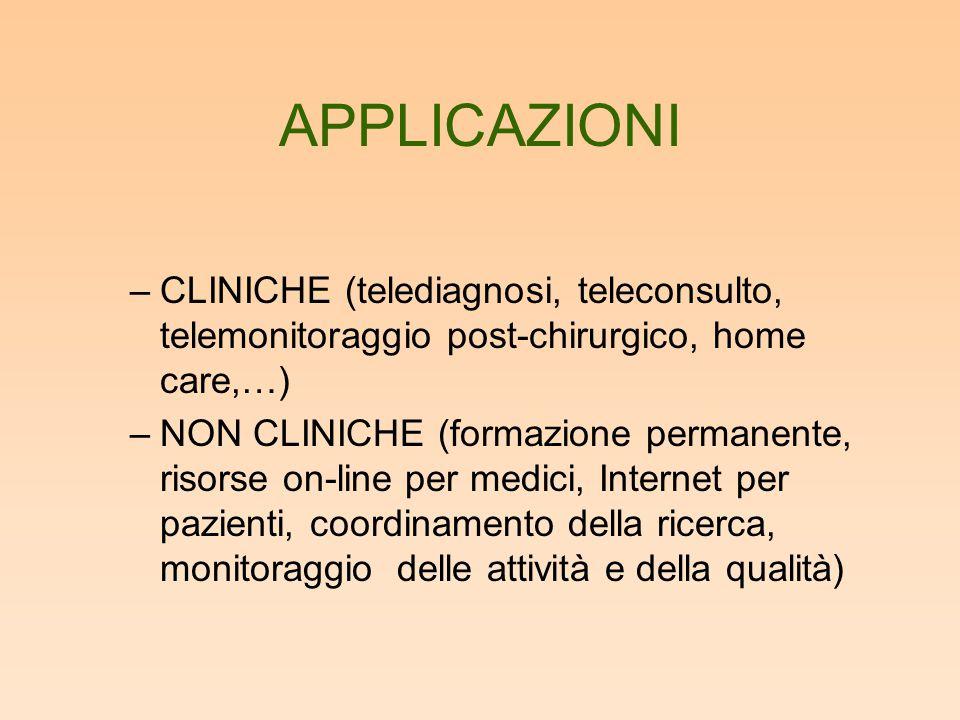 APPLICAZIONI –CLINICHE (telediagnosi, teleconsulto, telemonitoraggio post-chirurgico, home care,…) –NON CLINICHE (formazione permanente, risorse on-li