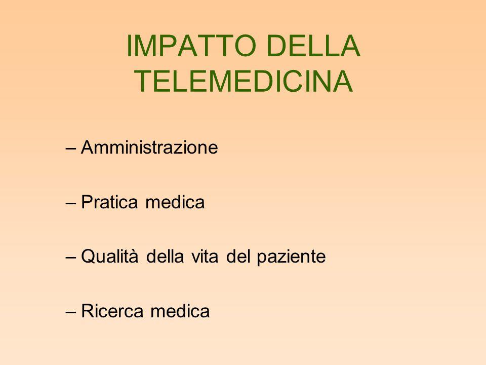 IMPATTO DELLA TELEMEDICINA –Amministrazione –Pratica medica –Qualità della vita del paziente –Ricerca medica