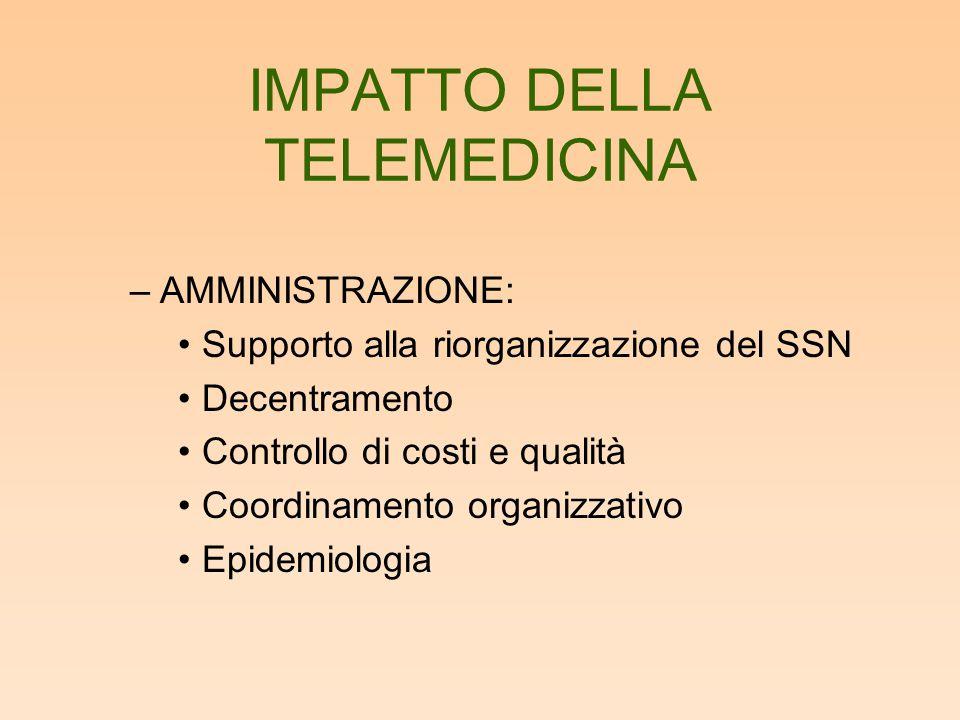 IMPATTO DELLA TELEMEDICINA –AMMINISTRAZIONE: Supporto alla riorganizzazione del SSN Decentramento Controllo di costi e qualità Coordinamento organizza