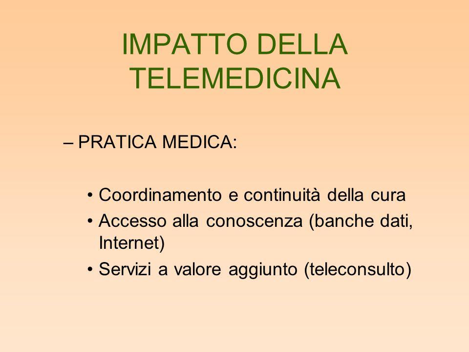 IMPATTO DELLA TELEMEDICINA –PRATICA MEDICA: Coordinamento e continuità della cura Accesso alla conoscenza (banche dati, Internet) Servizi a valore agg