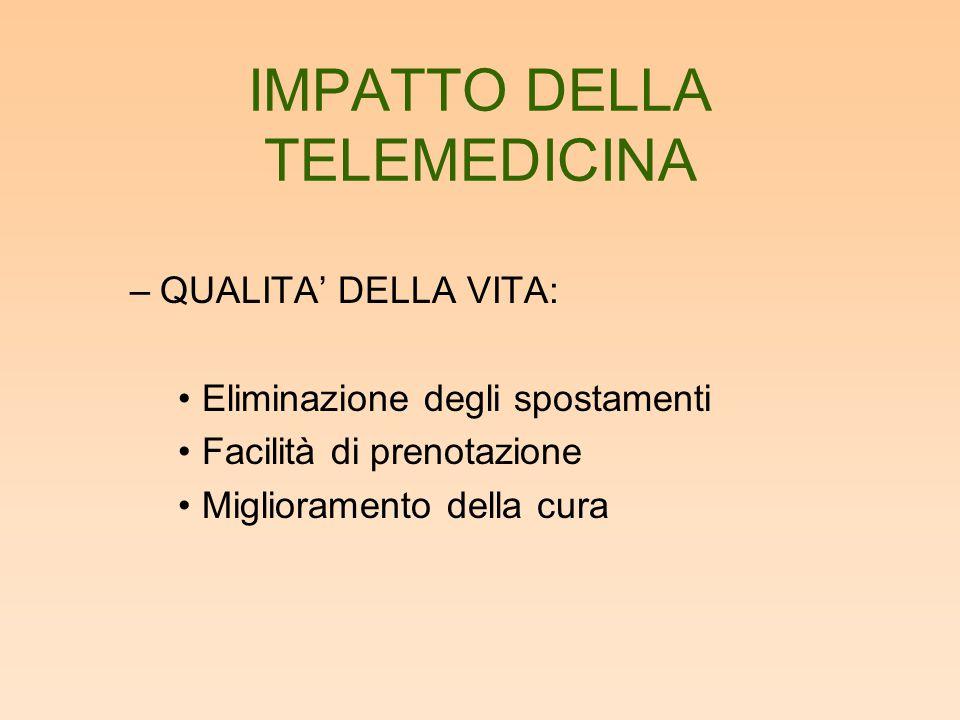 IMPATTO DELLA TELEMEDICINA –QUALITA' DELLA VITA: Eliminazione degli spostamenti Facilità di prenotazione Miglioramento della cura