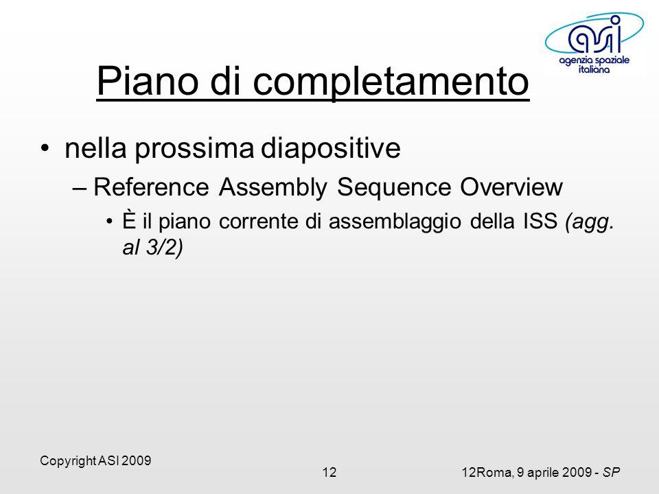 Copyright ASI 2009 1212Roma, 9 aprile 2009 - SP Piano di completamento nella prossima diapositive –Reference Assembly Sequence Overview È il piano corrente di assemblaggio della ISS (agg.