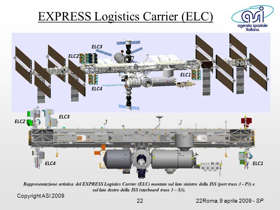 Copyright ASI 2009 2222Roma, 9 aprile 2009 - SP ELC1 ELC2 ELC4 ELC3 Rappresentazione artistica del EXPRESS Logistics Carrier (ELC) montato sul lato sinistro della ISS (port truss 3 - P3) e sul lato destro della ISS (starboard truss 3 – S3).