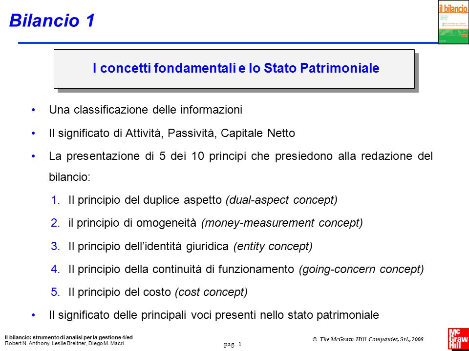 pag.2 Il bilancio: strumento di analisi per la gestione 4/ed Robert N.