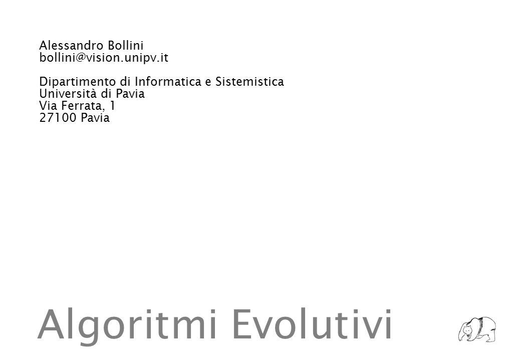 Alessandro Bollini bollini@vision.unipv.it Dipartimento di Informatica e Sistemistica Università di Pavia Via Ferrata, 1 27100 Pavia Algoritmi Evolutivi