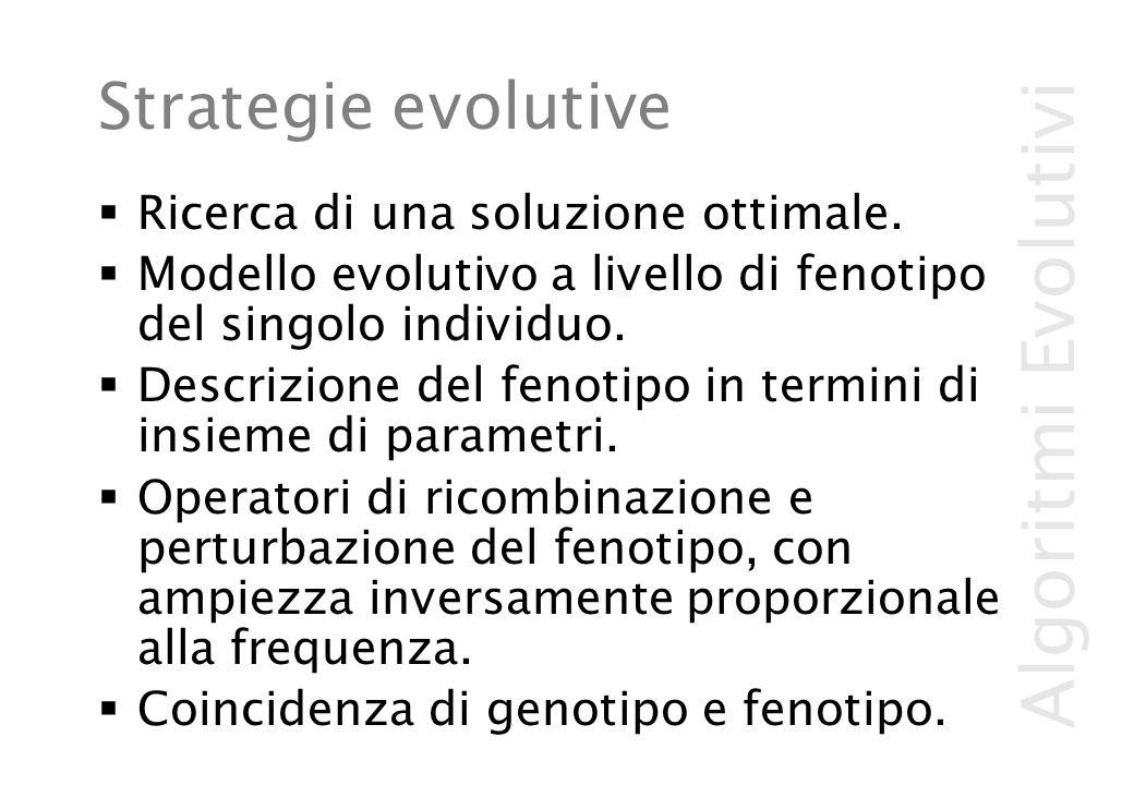 Algoritmi Evolutivi Strategie evolutive  Ricerca di una soluzione ottimale.