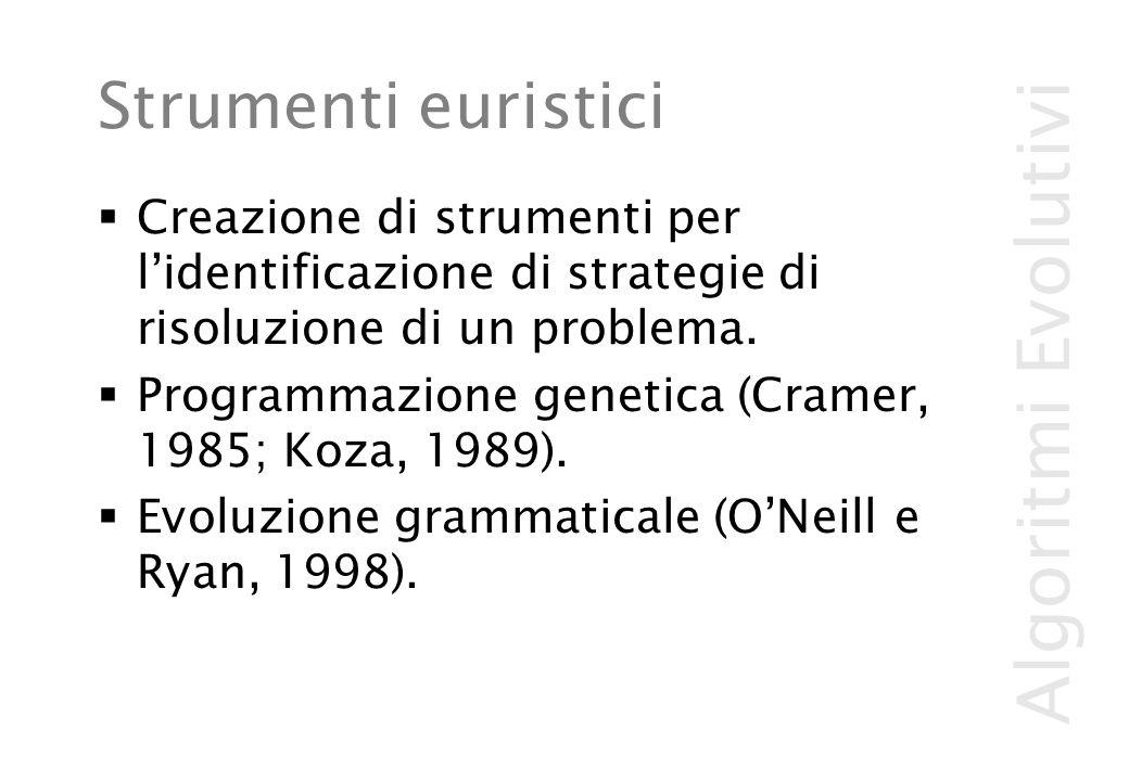Algoritmi Evolutivi Strumenti euristici  Creazione di strumenti per l'identificazione di strategie di risoluzione di un problema.