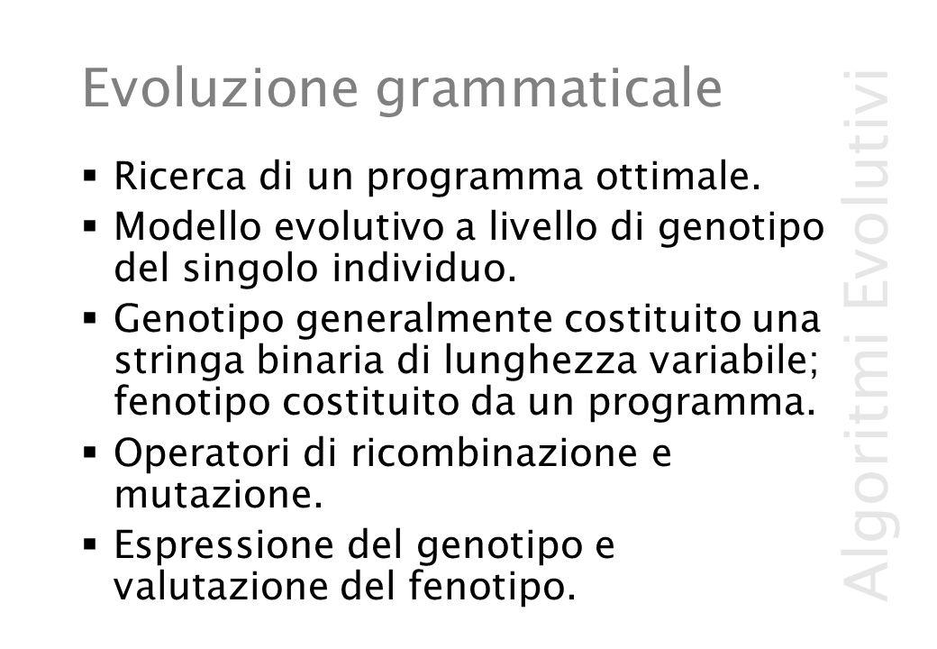 Algoritmi Evolutivi Evoluzione grammaticale  Ricerca di un programma ottimale.