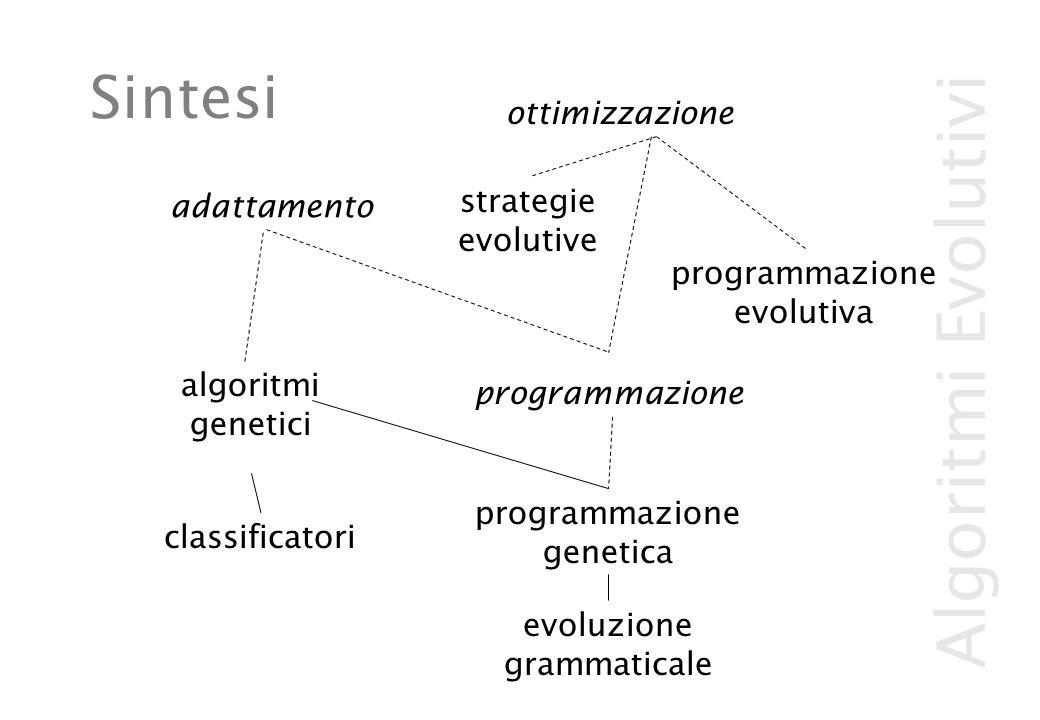 Algoritmi Evolutivi Sintesi adattamento ottimizzazione algoritmi genetici classificatori programmazione evolutiva strategie evolutive programmazione genetica evoluzione grammaticale programmazione