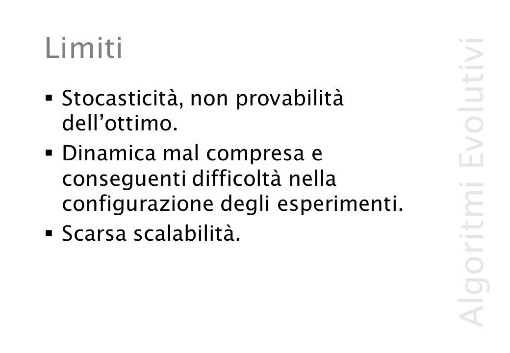 Algoritmi Evolutivi Limiti  Stocasticità, non provabilità dell'ottimo.