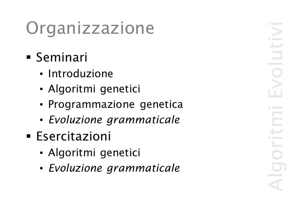 Algoritmi Evolutivi Organizzazione  Seminari Introduzione Algoritmi genetici Programmazione genetica Evoluzione grammaticale  Esercitazioni Algoritmi genetici Evoluzione grammaticale