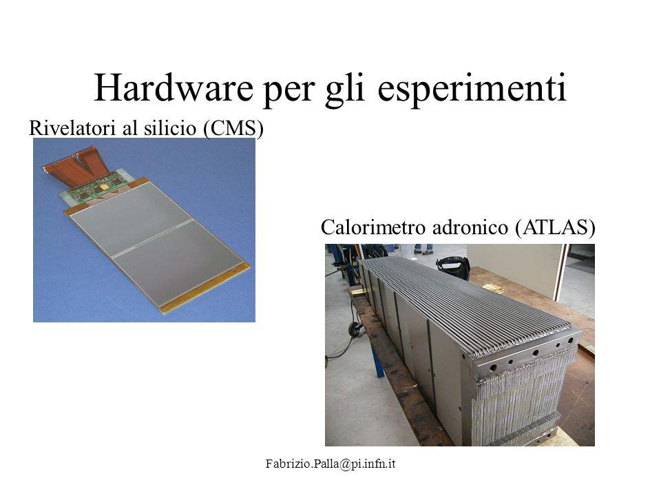 Fabrizio.Palla@pi.infn.it Hardware per gli esperimenti Rivelatori al silicio (CMS) Calorimetro adronico (ATLAS)