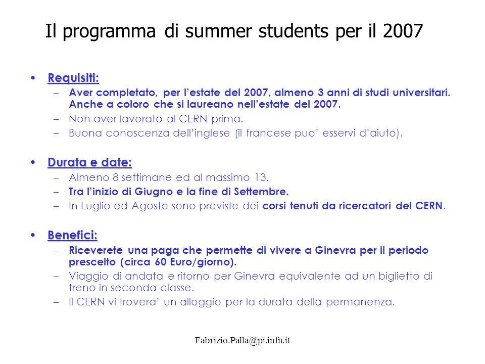 Fabrizio.Palla@pi.infn.it Requisiti: Requisiti: – Aver completato, per l'estate del 2007, almeno 3 anni di studi universitari. Anche a coloro che si l