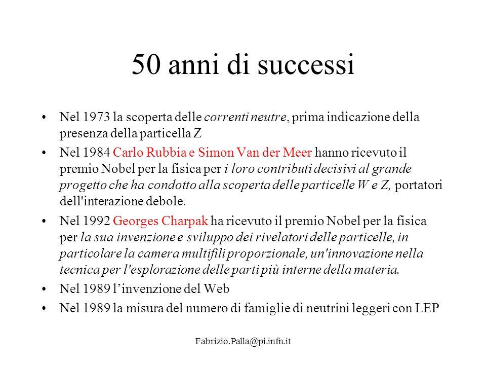 Fabrizio.Palla@pi.infn.it 50 anni di successi Nel 1973 la scoperta delle correnti neutre, prima indicazione della presenza della particella Z Nel 1984