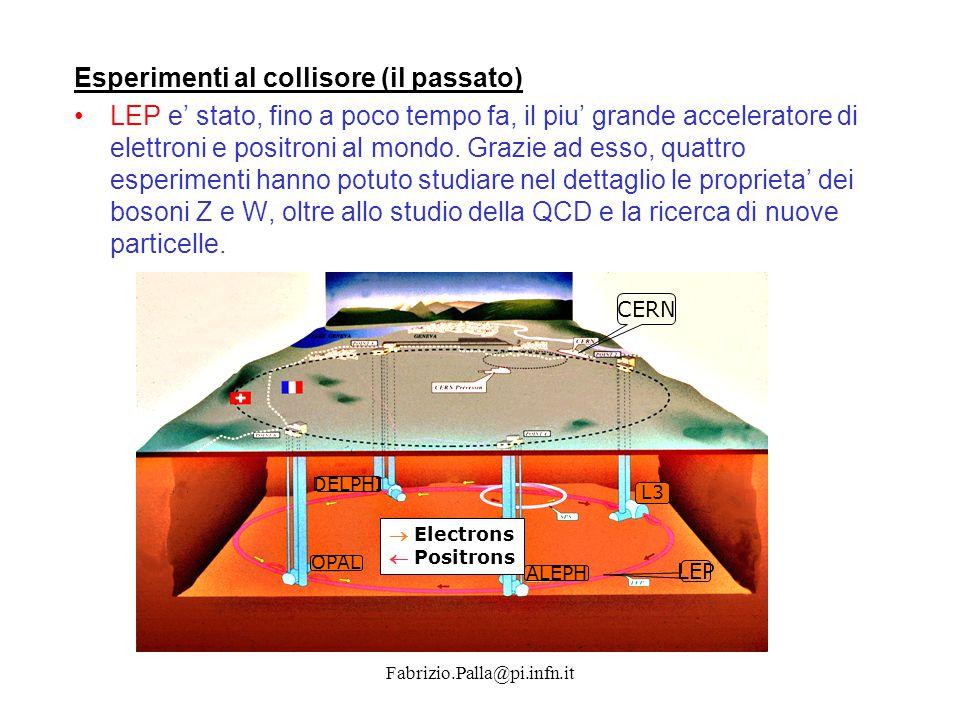 Fabrizio.Palla@pi.infn.it Esperimenti al collisore (il futuro) Nello stesso tunnel di LEP: Large Hadron Collider (LHC), in cui due fasci di protoni si scontreranno alla piu' alta energia mai raggiunta (14 TeV nel centro di massa).