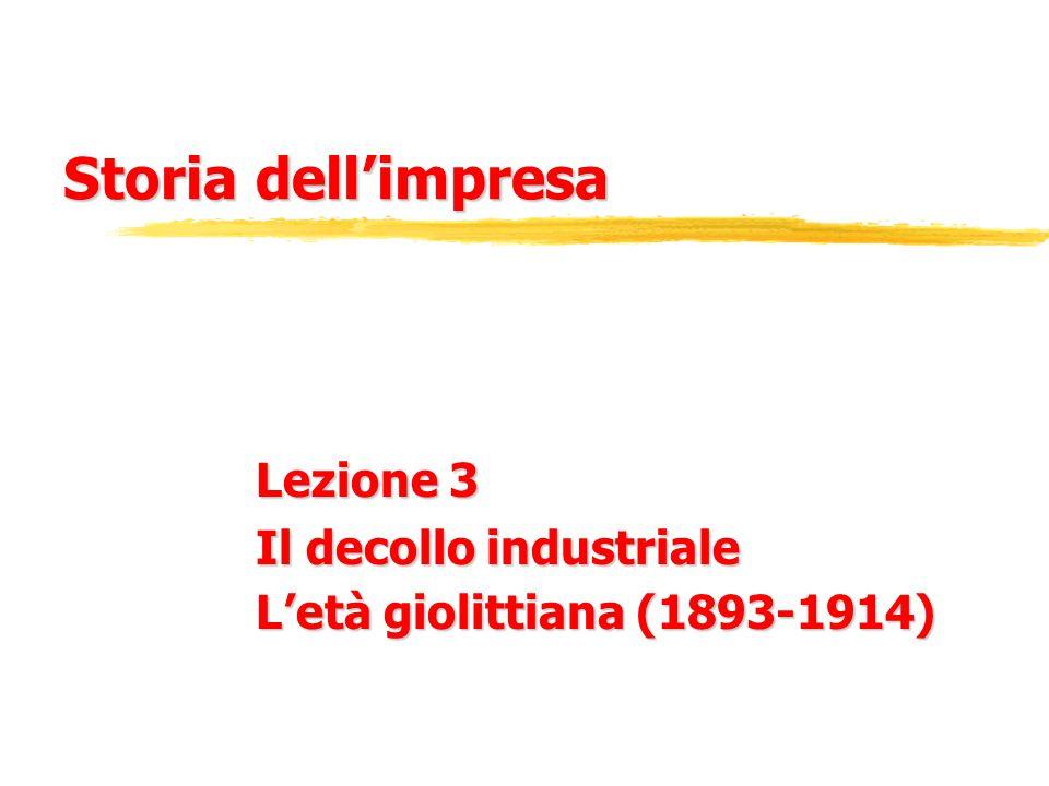 Storia dell'impresa Lezione 3 Il decollo industriale L'età giolittiana (1893-1914)