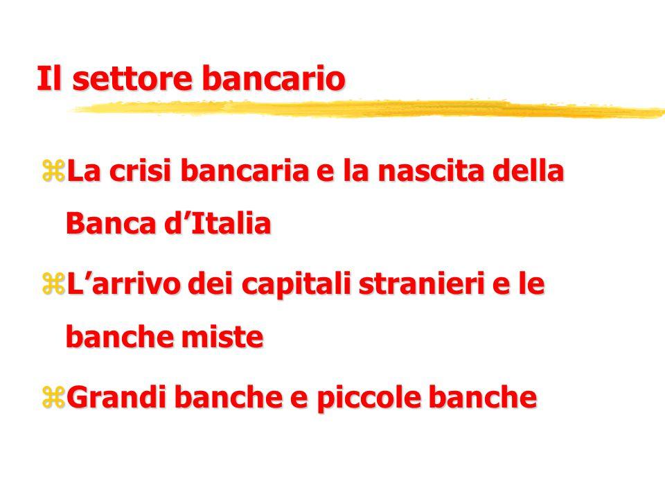 Il settore bancario zLa crisi bancaria e la nascita della Banca d'Italia zL'arrivo dei capitali stranieri e le banche miste zGrandi banche e piccole banche