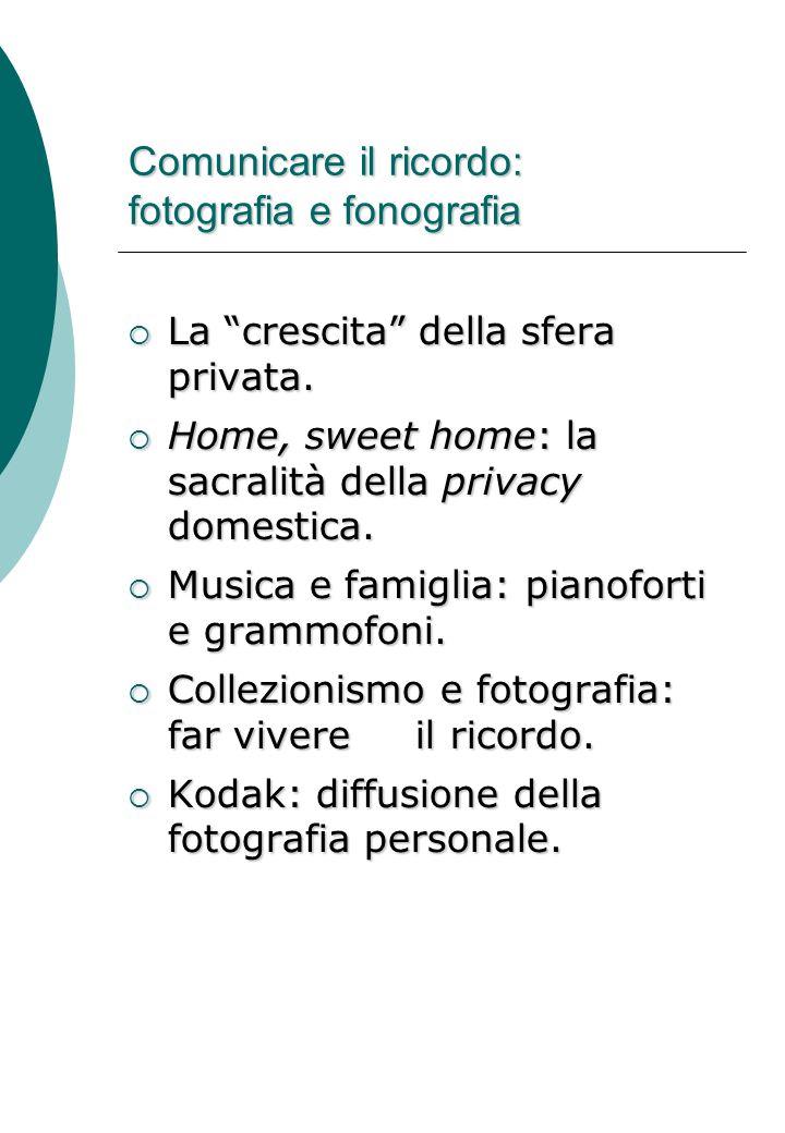 Comunicare il ricordo: fotografia e fonografia  La crescita della sfera privata.