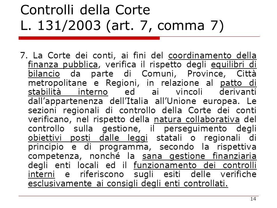 14 Controlli della Corte L. 131/2003 (art. 7, comma 7) 7. La Corte dei conti, ai fini del coordinamento della finanza pubblica, verifica il rispetto d