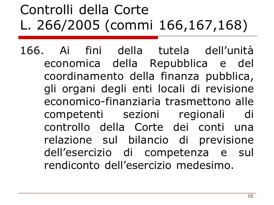 16 Controlli della Corte L. 266/2005 (commi 166,167,168) 166. Ai fini della tutela dell'unità economica della Repubblica e del coordinamento della fin