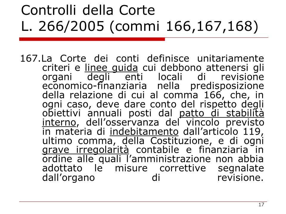 17 Controlli della Corte L. 266/2005 (commi 166,167,168) 167.La Corte dei conti definisce unitariamente criteri e linee guida cui debbono attenersi gl