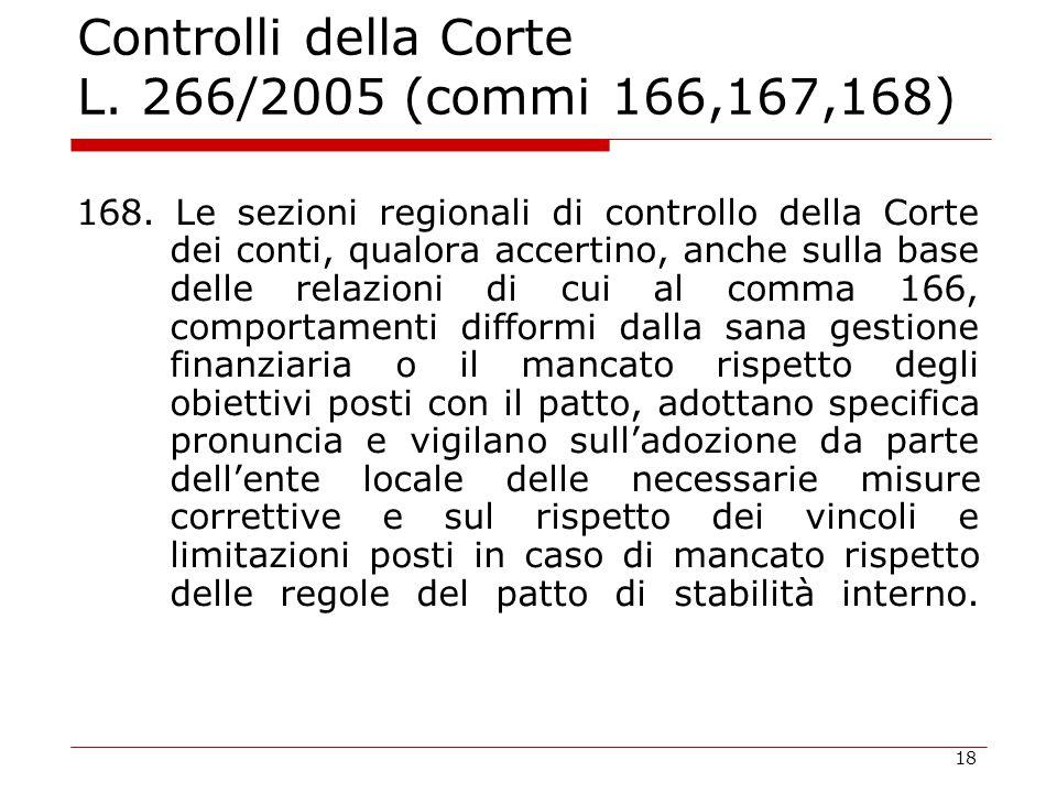 18 Controlli della Corte L. 266/2005 (commi 166,167,168) 168. Le sezioni regionali di controllo della Corte dei conti, qualora accertino, anche sulla