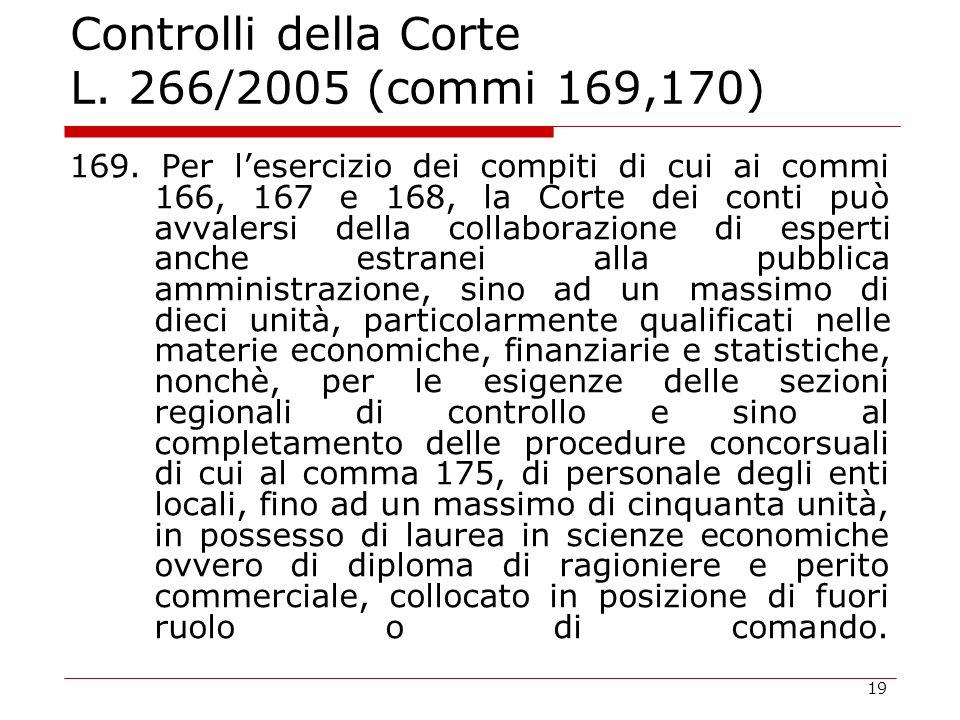 19 Controlli della Corte L. 266/2005 (commi 169,170) 169. Per l'esercizio dei compiti di cui ai commi 166, 167 e 168, la Corte dei conti può avvalersi